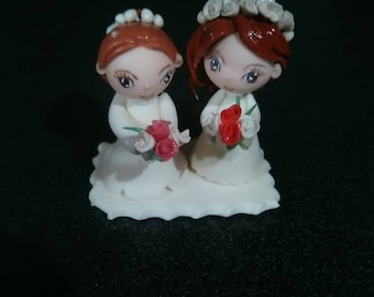 Wedding: Cake topper figurine Aline and francoise will marry made cold porcelain.