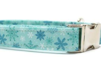 Blue Snowflake Fabric Dog Collar | Blue Dog Collar | Snowflake Dog Collar | Boy Dog Collar | Girl Dog Collar | Christmas Dog Collar