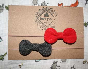 Red and Dark Grey Felt Bow Infant Baby Girl Nylon Headband Set of 2