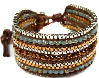 Leather Bracelet Beaded Bracelet Handmade Bracelet Statement Bracelet Statement Jewelry Fashion Bracelet Unique Bracelet Gifts for Her