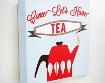 Cup Of Tea, Tea Wall Art, Kitchen Wall Art, Kitchen Wall Art Decor, Tea, Kitchen Canvas Art, Tea Pot, Red Wall Decor, Red Wall Art, Wall art