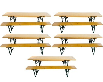 5 Picnic Table Sets from German Beer Garden Halls, SHIPS FREE! Many sets available