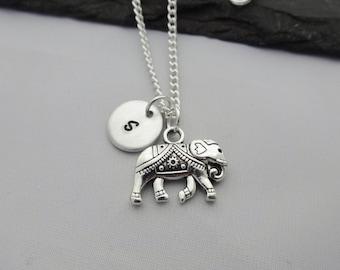 Initial Elephant Necklace, Elephant Necklace, Initial Charm Necklace, Charm Necklace, Elephant Gift, Personalised Elephant Gifts, Elephant