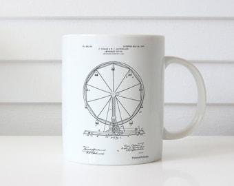 Ferris Wheel Mug, Ferris Wheel Patent, Ferris Wheel Mug, Ferris Wheel Mug, Ferris Wheel Decor, Ferris Wheel BlueMug PP0167