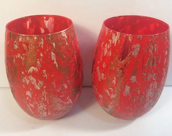 Two 12oz. Original Hand-Painted Wine Glasses