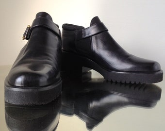 "USA Free Ship // Parlanti Black Leather Slip-On Ankle Boots Made in Italy | Size 35.5"" = USA 5-5.5"""