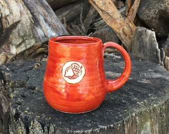 Tea Cup, Small Mug, Cinnamon Red Mug, Oak Leaf, Acorn, Pottery Handmade by Daisy Friesen