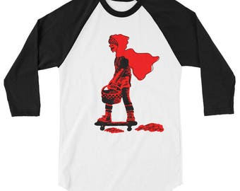 Red Riding Hood on a Skateboard by Biilly Lilly 3/4 sleeve raglan shirt