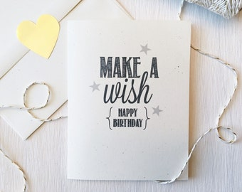 Rustic Make A Wish Birthday Card, Happy Birthday Card, Happy Birthday, Celebrate, It's your birthday, Stationery, snail mail, happy mail