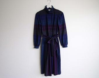 VINTAGE Dress 1980s Flannel  Blue Purple Small