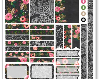Chalkboard Flower Decorating Kit / Weekly Spread Planner Stickers for Erin Condren Planner, Filofax, Plum Paper