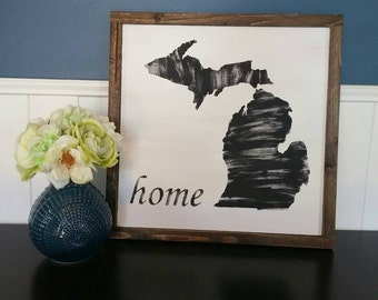 Michigan Home Decor - Rustic wood sign with wood trim - Black n white - Comes ready to hang - 15.5in by 15.5in - Michigander, Pure Michigan