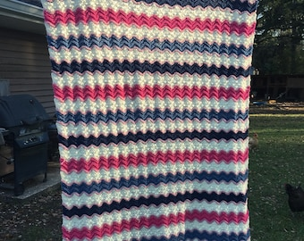 Pinks, blues and cream afghan