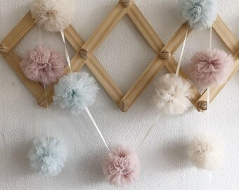 Tulle Pom Pom Garland. Childrens and party bunting. wedding garland. Pom Pom tulle bunting for celebrations and decorating. 9 pom poms.