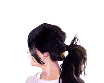 """8x10"""" hair art - ponytail print - """"Ponytail 1"""""""