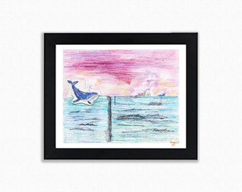 """Whale bookmarks, 8""""x10"""" image, printable constant download, copy of line drawing, wall art"""