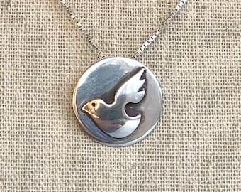 Vintage sterling silver dove pendant etsy sterling silver signed flying dove pendant necklace 165 dove necklace all silver necklace aloadofball Images