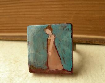 Jane Austen Inspired Ring Hand Painted Scrabble Tile  - Mansfield