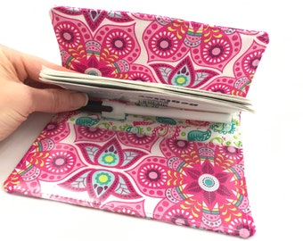 Duplicate Checkbook Cover with Pen Holder - Blue Duplicate Checkbook Register Fabric Checkbook Cover- Bloom Henna Blossom in Pink