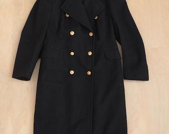 vtg 50s Royal Canadian Navy RCN 1955 Heavy Black Wool Double Breasted Overcoat Long Peacoat M/L