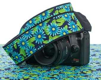 dSLR Camera Strap, Blue Floral Asters, Canon Camera Strap, Nikon Camera Strap, Mirrorless camera, photography 055