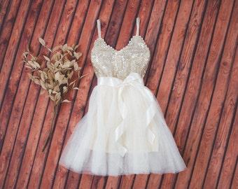 Gold Cream Tulle Flower Girl Dress Sash Belt set, Gold sequin dress, Gold Ivory Cream Wedding, Ball Gown, Gold glitter, Ivory tutu dress