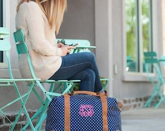 Charlie Dot Monogrammed Weekender, Womens Carry On Bag, Monogram Travel Bag, Personalized Overnight Bag, Wedding Gift, Bridesmaid Gift