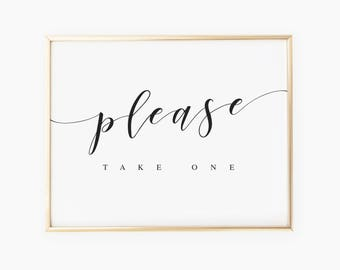 Please Take One Wedding Favors Sign Favors Reception Sign Wedding Welcome Sign Wedding Decor Wedding Favors