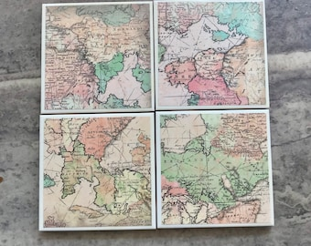 World Map drink coasters -set of 4