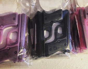 2 Pistol Soaps - You Pick ONE Scent/Color - Vegan guest bath decorative gun rifle shoot bullet
