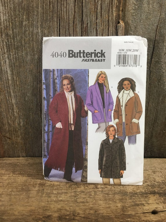 Butterick pattern 4040 from 2003, uncut jacket pattern, sizes 16w-20w jacket pattern, Butterick jacket sewing pattern, coat sewing pattern