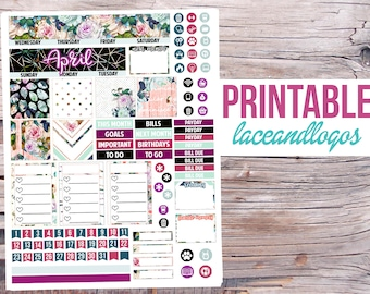 Printable Planner Stickers April Monthly Spread for MAMBI Happy Planner Classic Medium Month View PDF JPG Kit Set