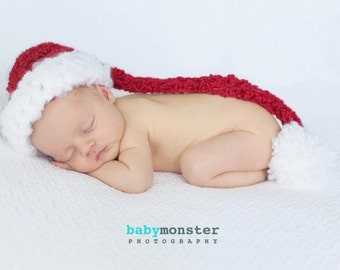 Christmas Photo Hat - Baby Hat - Santa Hat - Baby Santa Hat - Red and White Santa Hat - newborn to Toddler sizes -  by JoJosBootique