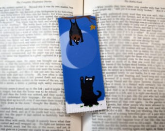 Black Cat and Fruit Bat Bookmark - Original, Laminated Illustration