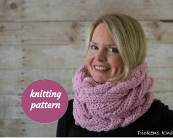 PDF KNITTING PATTERN, Cable Knit Infinity Scarf Snood Pattern, Cable Knit Cowl Pattern, Cable Circle Scarf Pattern