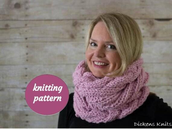 Pdf Knitting Pattern Cable Knit Infinity Scarf Snood Pattern