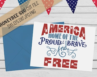 America Proud Brave and Free svg July 4th svg 4th of July svg America svg Freedom svg Silhouette svg jpg dxf eps Cricut Brave svg Proud svg
