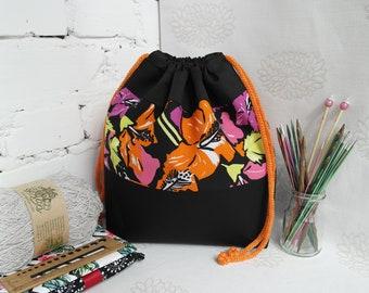 Drawstring knitting bag, Sock project bag, Knitting bag, Yarn project bag, Knitters gift , Crochet project bag, Knitting project bag