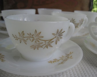 Vintage Federal Glass Golden Glory Milk Glass Cups Saucers and Creamer