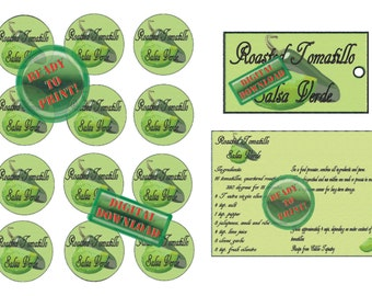 Salsa Verde Recipe Printable Mint Green Roasted Tomatillo Mason Jar Lid Labels Recipe Cards Gift Tags Tomatillo Jalapeno Sketch Guest Favors