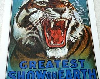 BARNUM & Bailey GREATEST Show on Earth Circus Poster Print 1916 Classic Growling TIGER Poster Size Book Plate
