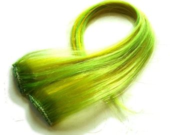 "Set of TWO 16"" Clip-In Human Hair Streaks, Lemon Lime - neon green yellow festival hair extensions"