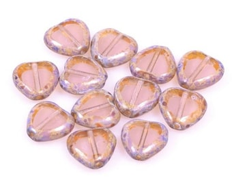 Pearl CŒUR marbled edges, size 10 mm, set of 2
