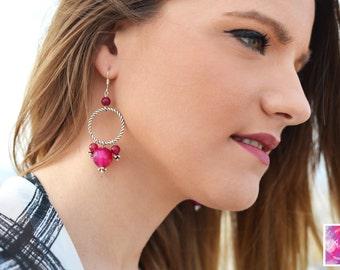 Crystal earrings, Bohemian earrings, Silver earrings, Pink earrings, Gemstone earrings, Geometric, Agate earrings, gift for her, boho