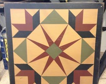 PriMiTiVe Hand-Painted Barn Quilt - 2' x 2' Garden of Eden - Thick Frame
