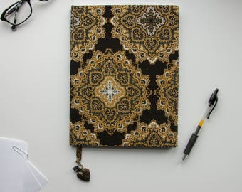 """Regal Black and Gold Patterned Fabric Covered  7.5""""x10"""" Notebook Journal 100 LINED pages"""