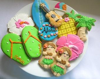 Hawaiian Cookies, Luau, Cookies, Hawaii, Tropical, Aloha, Hula, Birthday, Lei, Flip Flops, Hibiscus, Pineapple, Palm Tree, Shave Ice, Favors