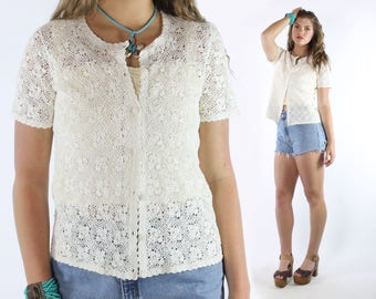 70s Crochet Sweater Cardigan Short Sleeve Button Up Blouse Top Shirt Ivory Lace Vintage 1970s Medium M Hippie Boho Festival