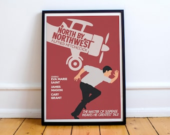North by northwest, minimal movie poster for Alfred Hitchcock film with Cary Grant (intrigo internazionale)