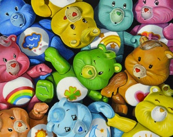 Original Painting by Kim Testone - Care Bears Stare - Bear 80s Vintage Toys Contemporary Still Life Art Paintings Photorealism 1980s Toy